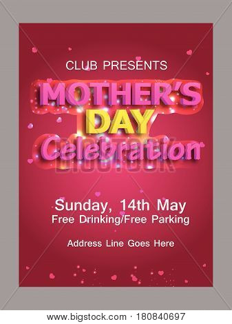 Elegant Greeting Card or flyer or poster  design with Creative Text  Happy Mother's Day celebration.