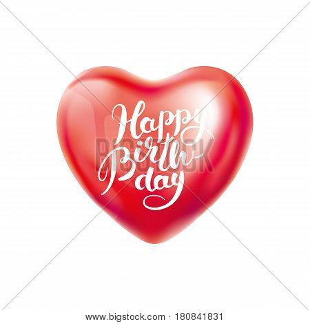 Happy birthday balloon. Heart Red transparent balloon on background. Frosted party balloons for event design. Balloons isolated air. Birthday Party , anniversary, celebration. Shine transparent ball.