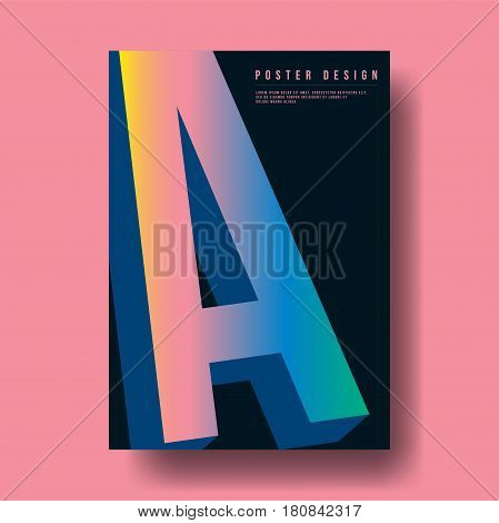 Abstract Colorful Gradient Letter A Cover Design - Vector illustration template
