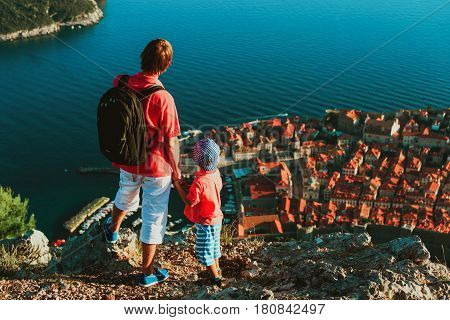 father and little son travel in Europe, Croatia