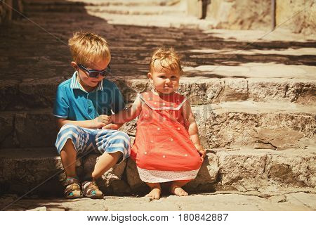 family travel - cute little boy and girl in old town Dubrovnik, Croatia