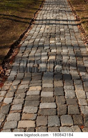 Path Paved Stone In The Spring Park