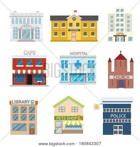 flat design house buildings administrative commercial religious vector illustration