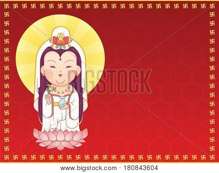 Vector Illustration of Guanyin the Goddess of Mercy Standing on Lotus. Chinese Goddess. Cartoon Character with Red Background for Greeting Card, Banner, Poster.