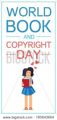 World Book and Copyright Day Vertical Banner Wtih Reading Girl. Vector