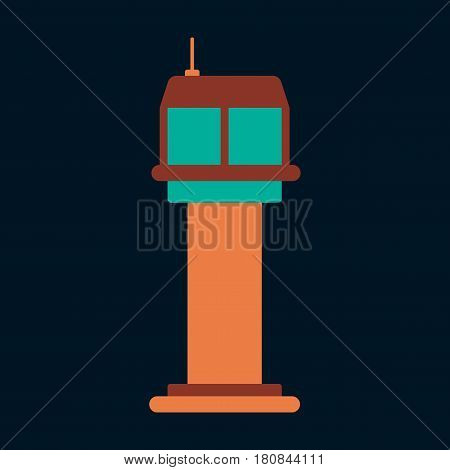 Icon in flat design for airport control tower