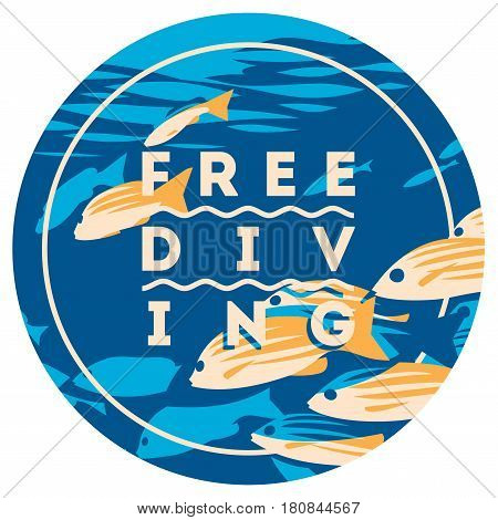 Free Diving and snorkeling badge and logo design concept and fins flat vector illustration