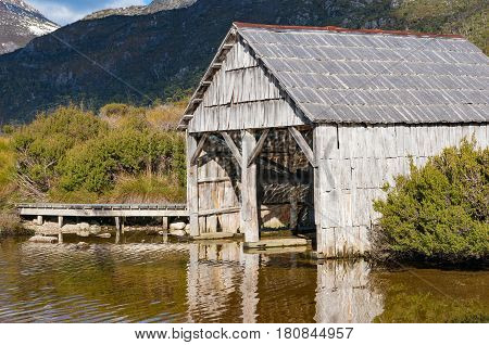 Historic Boat Shed At Lake Dove On Sunny Day