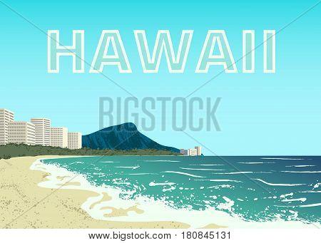 Poster of Waikiki beach of Oahu island, Hawaii, USA
