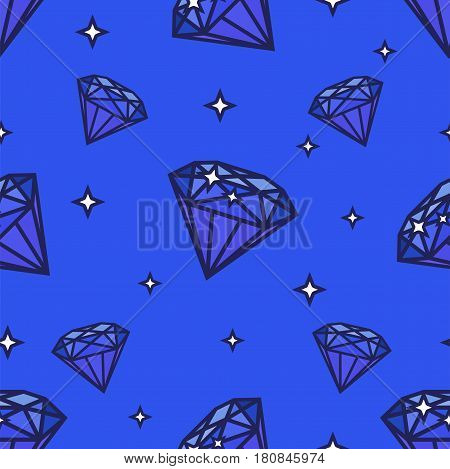 Seamless diamonds pattern. Illustration on blue background for graphic or web design
