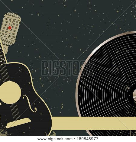 Blank retro music poster template. Vintage design background. Vector illustration.