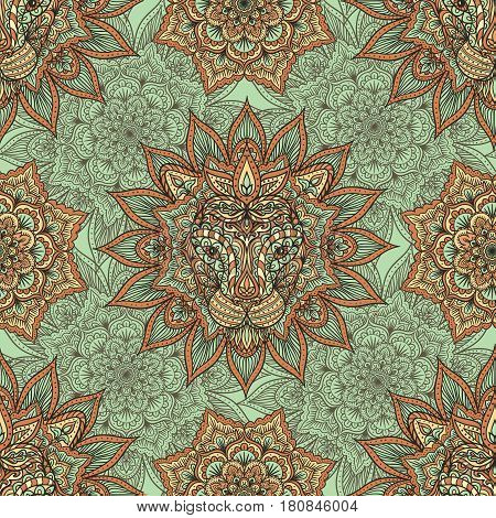 Seamless indian background with mandala and lion head