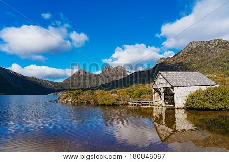Beautiful Landscape Cradle Mountain And Boat Shed On Lake Dove