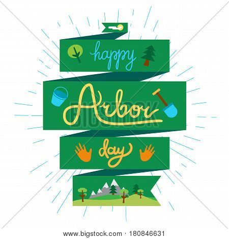 Save Our Planet Concept With shovel bucket and hand. Arbor Day Greeting for sticker banner and flyer. Vector