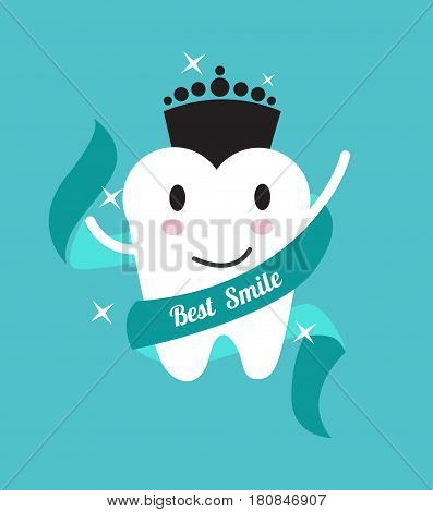 Best smile. tooth with a crown. flat design illustration. vector