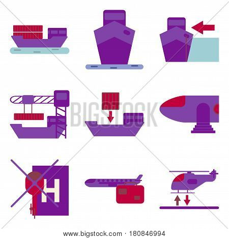 Set of icons in flat design for Cargo transportation