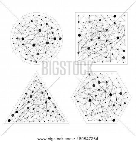 Wireframe connecting set. Connection concept. Hexagon, sphere, triangle, square shapes with dots and lines. Flat illustration collection of network shapes