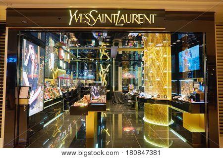 HONG KONG - CIRCA NOVEMBER, 2016: Yves Saint Laurent store at the Elements shopping mall in Hong Kong