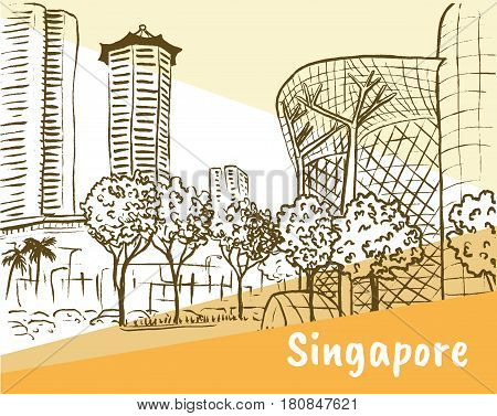 Hand-drawn sketch of Orchard Road in Singapore