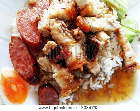 barbecue pork dressing sweet red sauce on rice ni Texture background