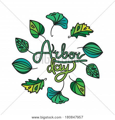 Save Our Planet Concept. Arbor Day Greeting for sticker banner and flyer. Vector