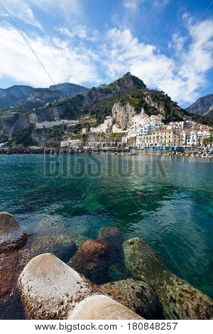 Italy Amalfitana Coast Amalfi view of the country from the pier