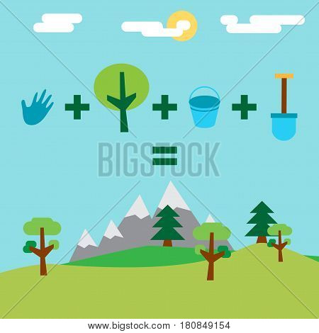 Save Our Planet Infographics. Arbor Earth and Environment Day Greeting for sticker banner and flyer. Vector