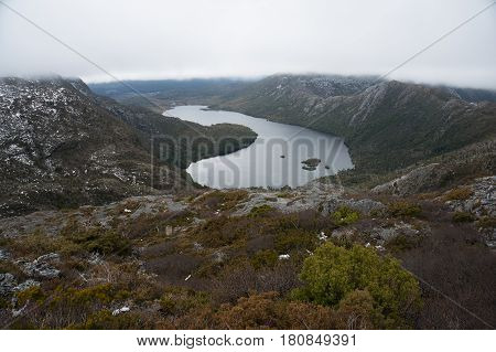 View From Above On High Mountain Range And Lake