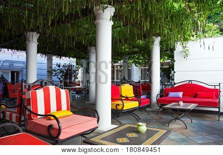 Sant'Agata Sui Due Golfi Italy - June 282011; The famous Restaurant and Hotel Don Alfonso the outdoor relax area