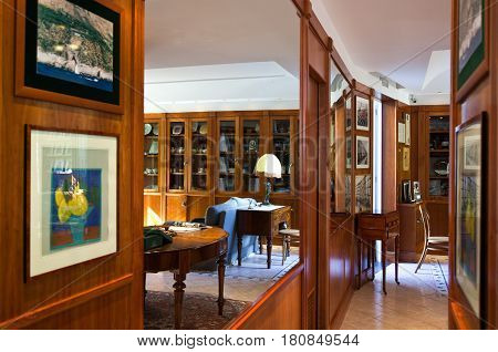 Sant'Agata Sui Due Golfi Italy - June 282011; The the library of the famous Restaurant and Hotel Don Alfonso.