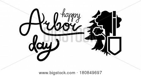 Save Our Planet Concept With Shovel. Arbor Day Greeting for sticker banner and flyer. Vector