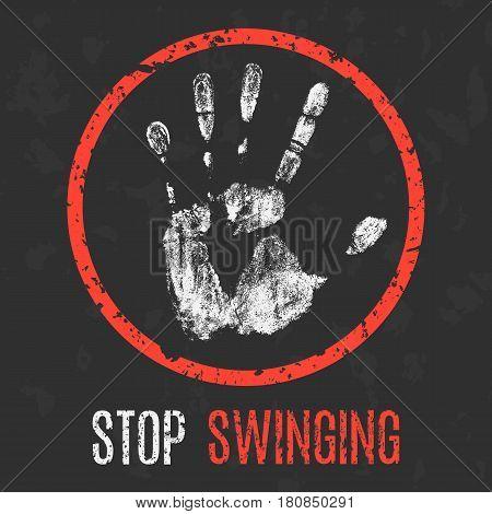 Conceptual vector illustration. Social problems. Stop swinging.