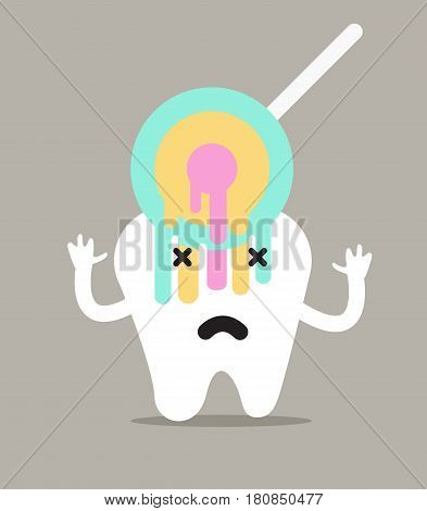 tooth with sweet candy. flat character design vector illustration