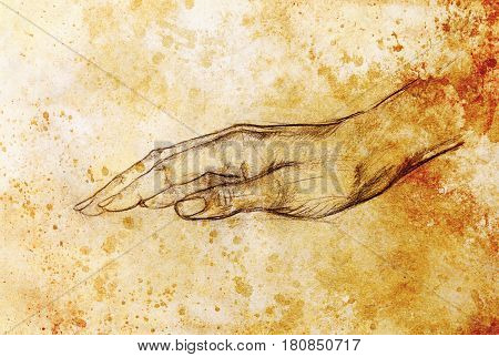Drawing hand, pencil sketch on paper, sepia and vintage effect