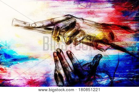 Drawing of hand and flute, pencil sketch on paper, color and vintage effect