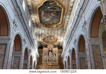 Sorrento Italy - November 15 2015: Paintings and decoration of the Cathedral nave