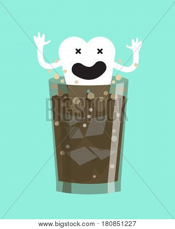 High Acid Drinks Damage Teeth. flat character design vector illustration