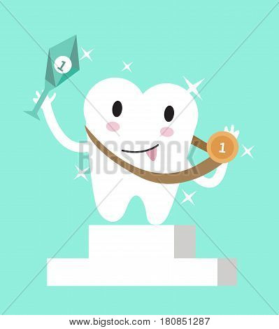 Tooth celebrating the victory. showing trophy and gold medal. flat character design vector illustration
