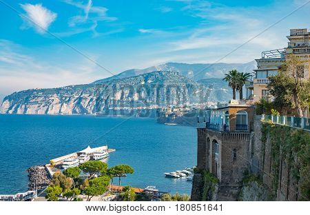 Sorrento Italy - November 15 2015: Panorama of the bay seen from the country center