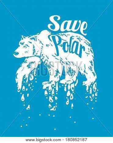 Save Polar bears. global warming vector illustration