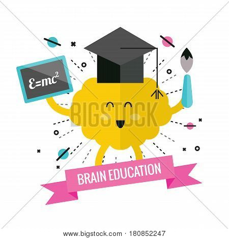 Left & right brain. cartoon and character design. Education concept. flat design elements. Vector illustration