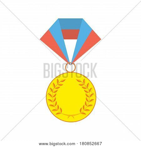Gold medallion isolated on a white background. Gold awards for first place. Gold medal flat icon isolated on white. Vector illustration for package, web, patterns,