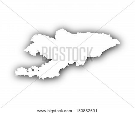 Map Of Kyrgyzstan With Shadow