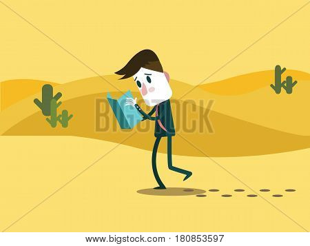 A business man watching a map. alone on a desert. business trouble concept. flat character design. vector illustration