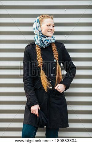 Young Beautiful Fashionable Redhead Woman With Braids Hairdo In Blue White Headcraft Stylish Denim B