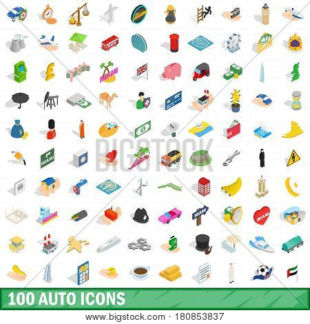 100 auto icons set in isometric 3d style for any design vector illustration