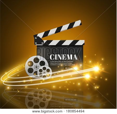 Cinema Background With Movie.Blue background with light star.Clapper Board. Vector Flyer Or Poster. Illustration Of Film Industry. Template For Your Design