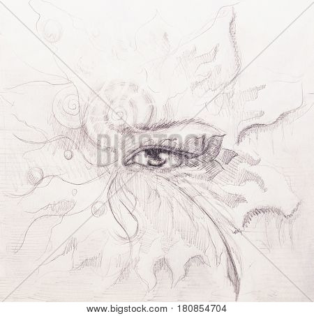 Mystic eye with floral ornament. Drawing on paper, Eye contact