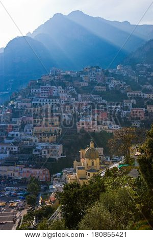 Italy Campania Positano panoramic view of the town at sunset panoramic view of the town at sunset