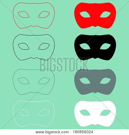 Man Mask Or Guise Red Black Icon.